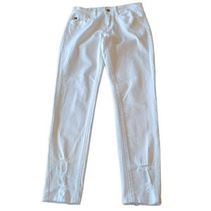 KanCan white skinny jeans with distressed hems